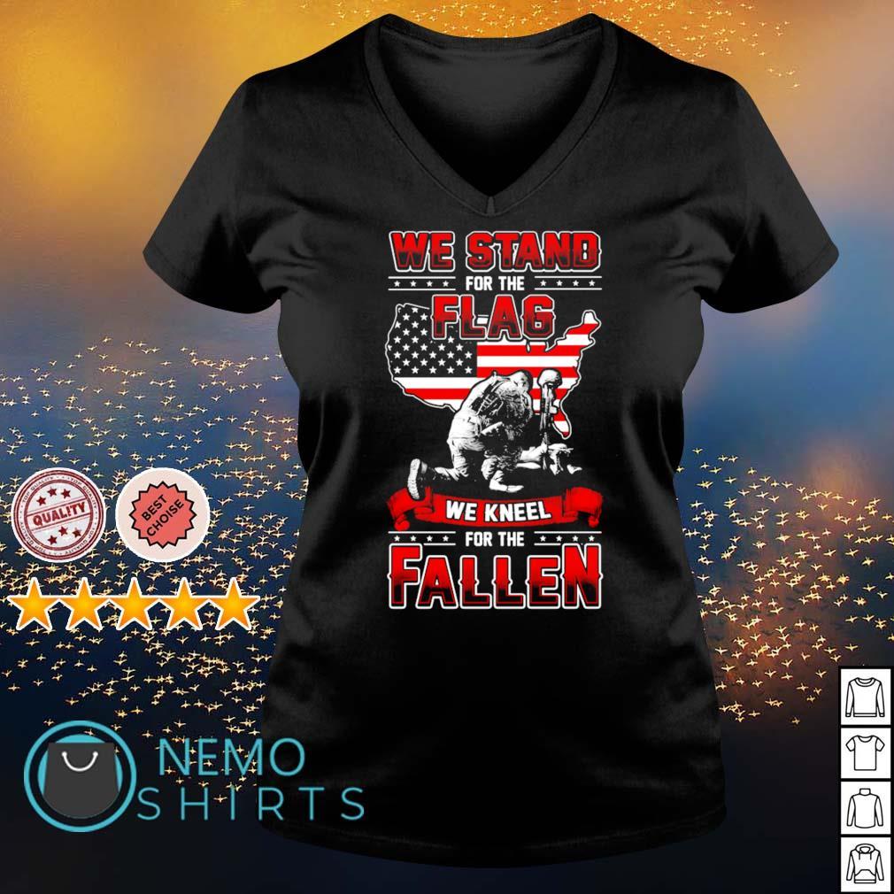 Veteran we stand for the flag we kneel for the fallen s v-neck-t-shirt