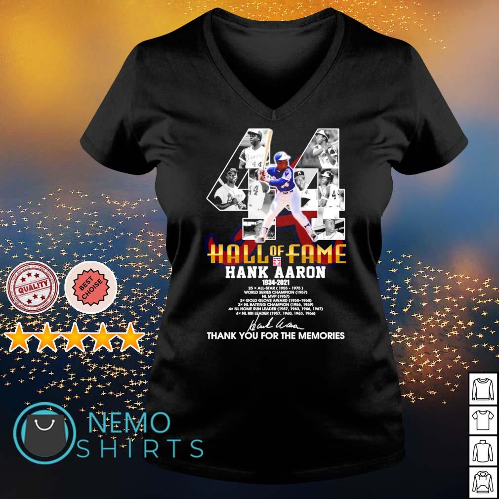 44 hall of fame Hank Aaron 1934 2021 thank you for the memories s v-neck-t-shirt