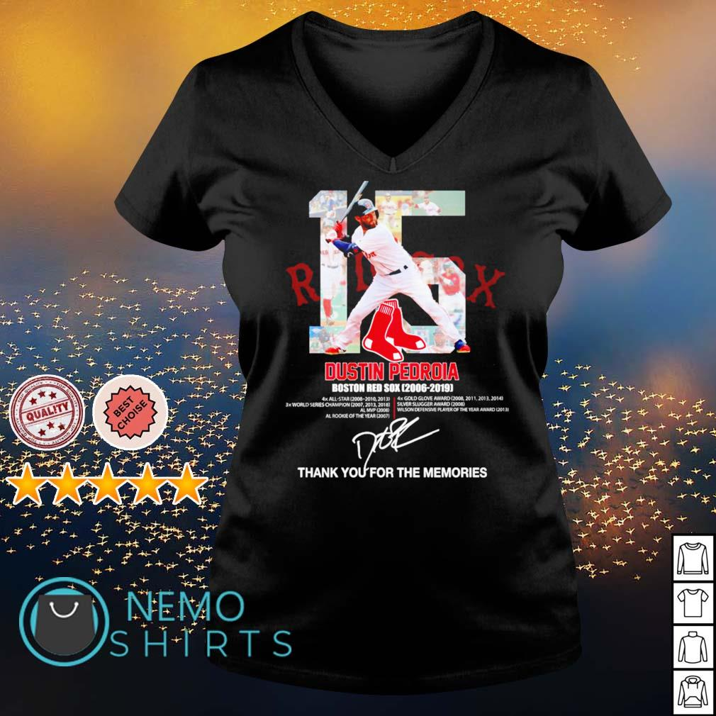 Boston Red Sox Dustin Pedroia 2006 2019 thank you for the memories s v-neck-t-shirt