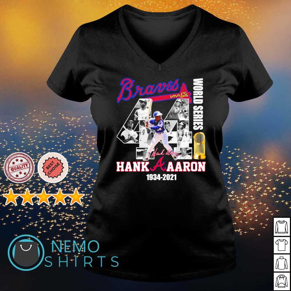 Braves Hank Aaron world series 1934 2021 s v-neck-t-shirt