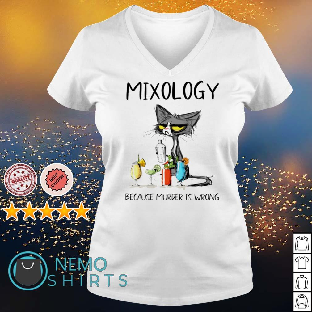 Cat mixology because murder is wrong s v-neck-t-shirt