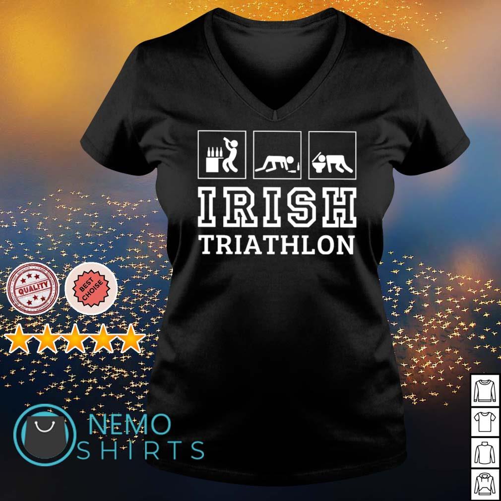 Drunk Irish triathlon s v-neck-t-shirt