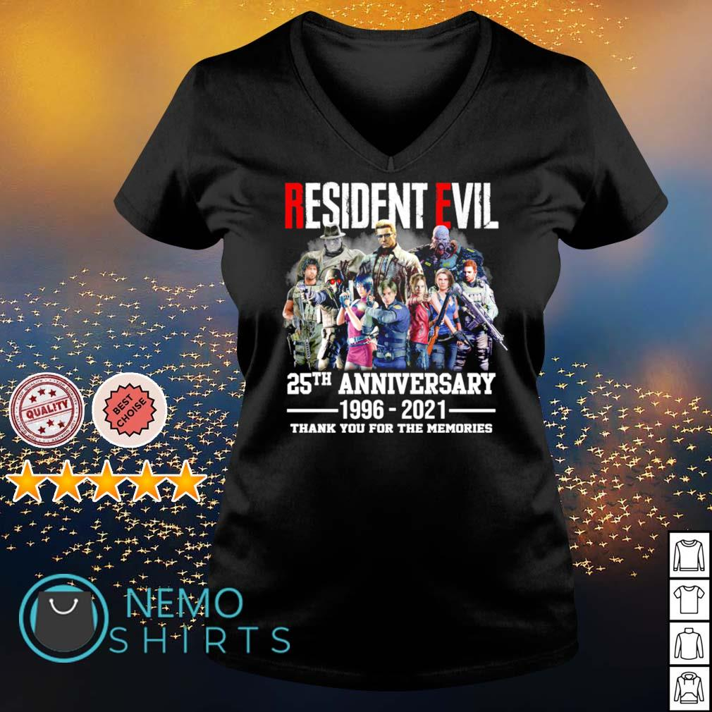 Resident Evil 25th Anniversary 1996 2021 thank you for the memories s v-neck-t-shirt
