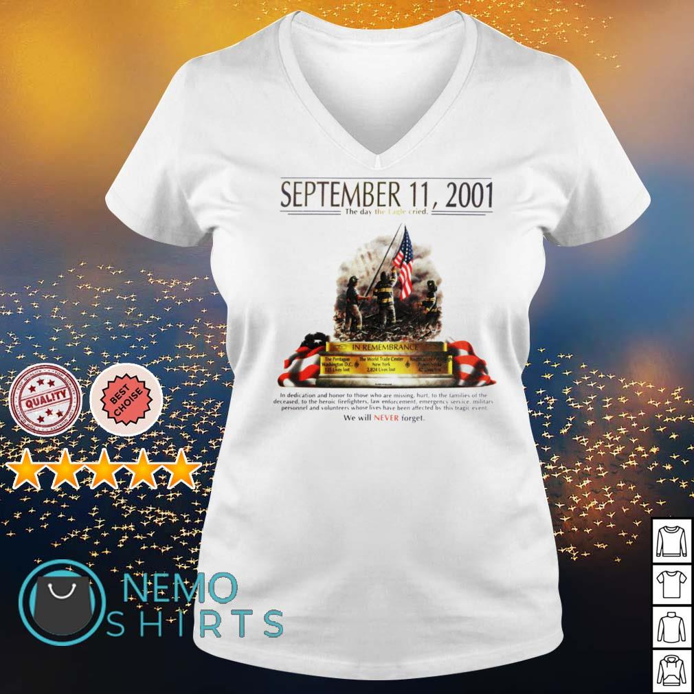 September 11 2001 The day the Eagle cried s v-neck-t-shirt
