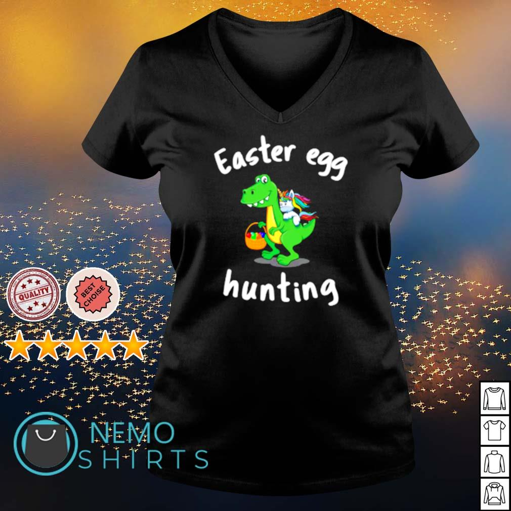 T Rex And Unicorn Easter Egg Hunting s v-neck-t-shirt