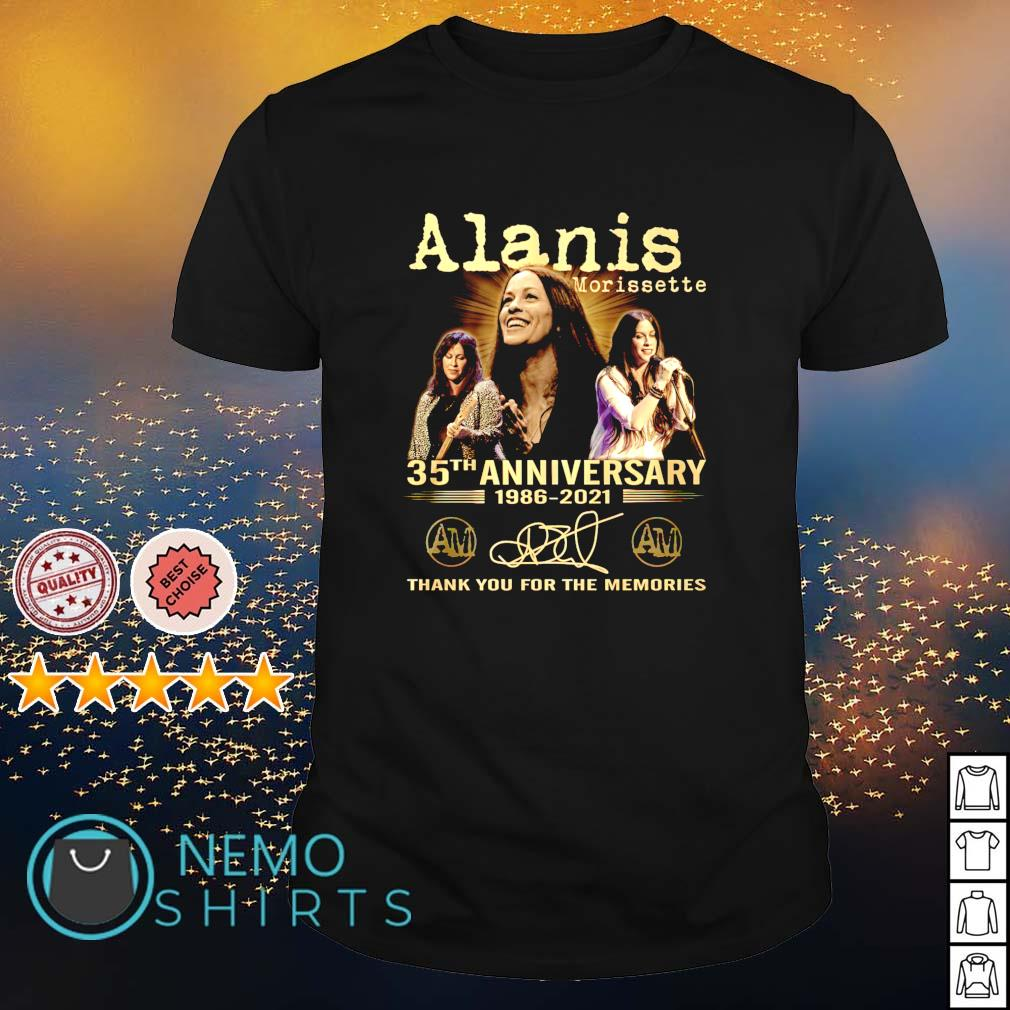 Alanis Morissette 35th Anniversary 1986 2021 thank you for the memories shirt