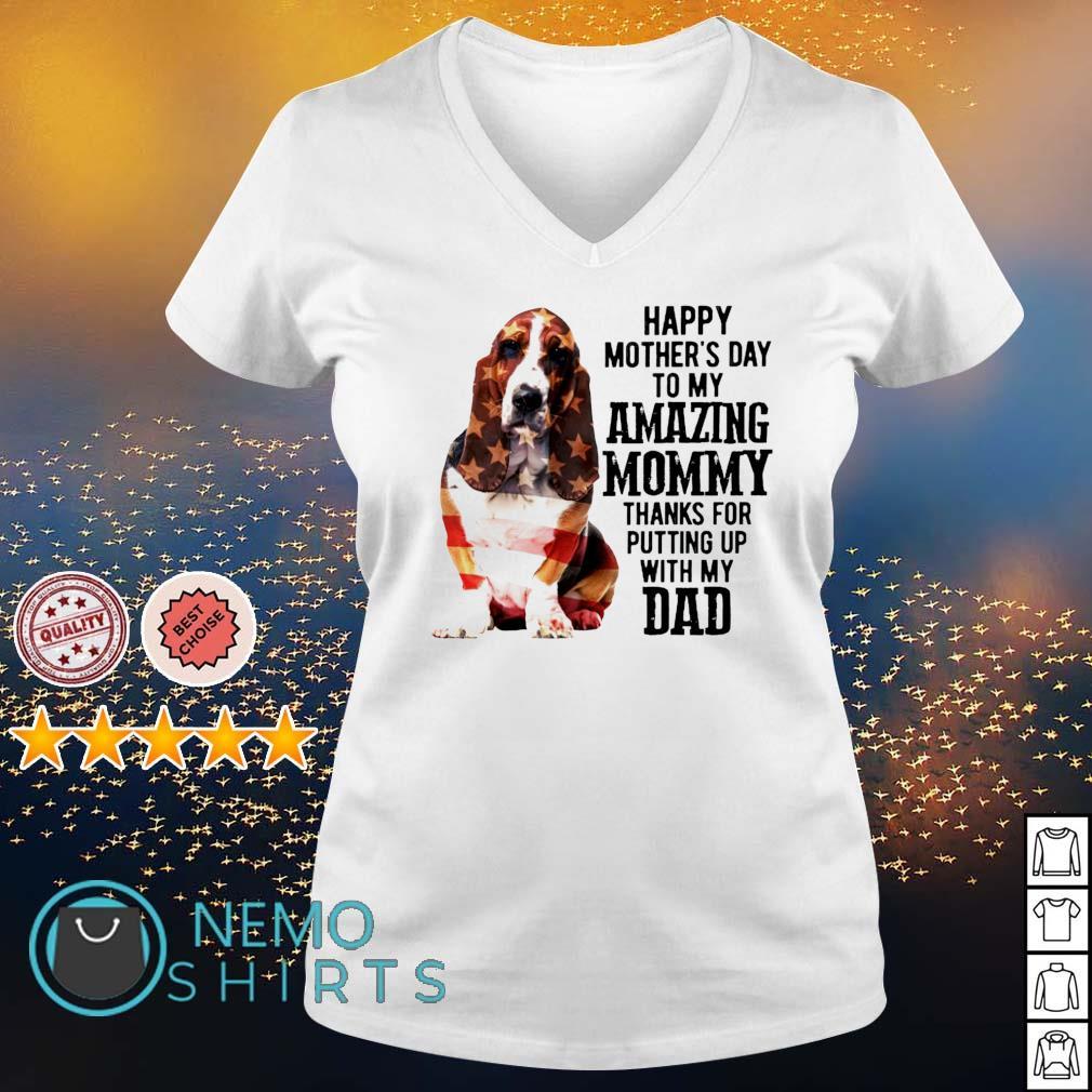 Basset Hound happy Mother's day to my amazing mommy s v-neck-t-shirt