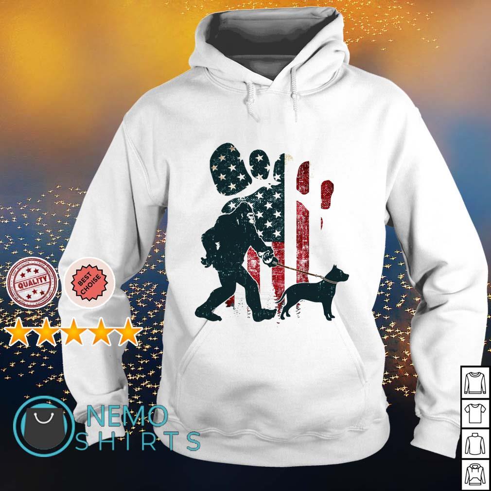 Bigfoot walking pitbull silhouette American flag dog s hoodie
