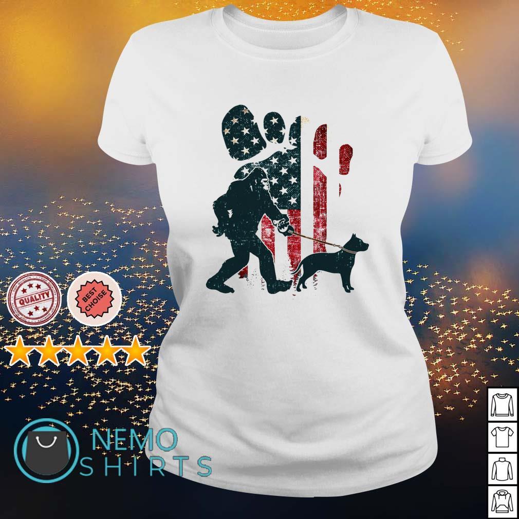 Bigfoot walking pitbull silhouette American flag dog s ladies-tee