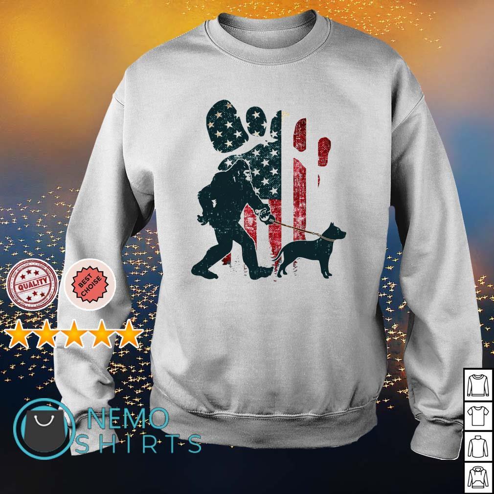 Bigfoot walking pitbull silhouette American flag dog s sweater