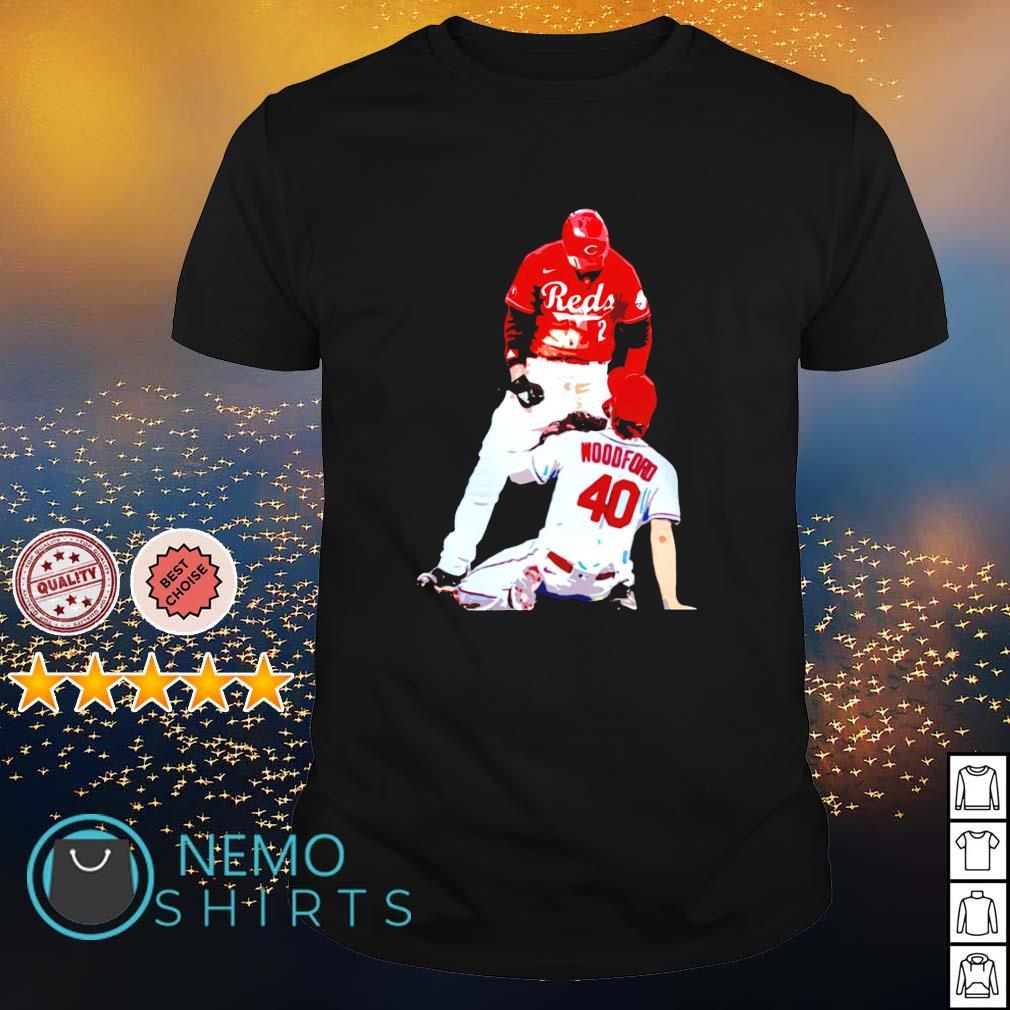 Cincinnati Reds Nick Castellanos suspension vs Cardinals Jake Woodford shirt