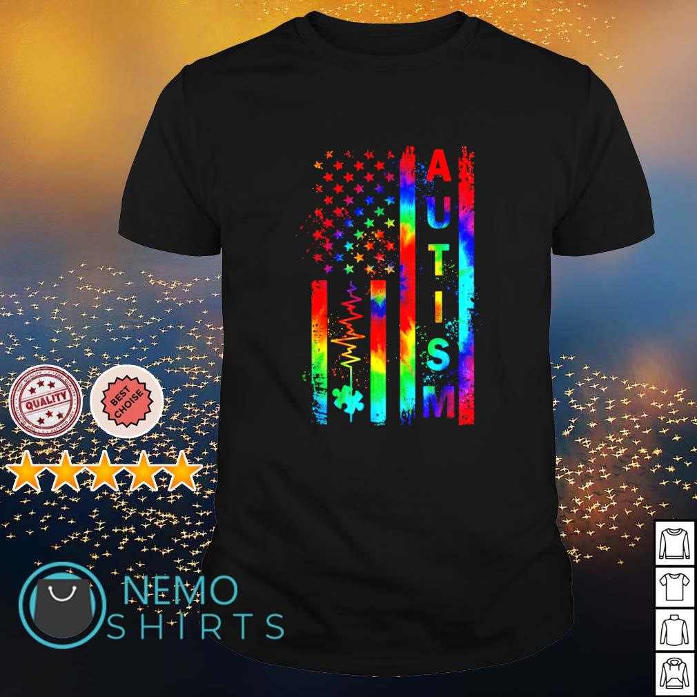 Heartbeat American flag Autism Awareness shirt