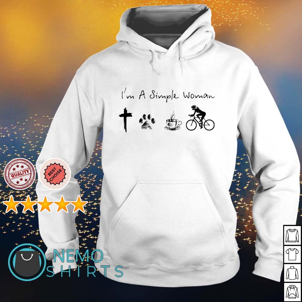 I'm a simple woman I love Jesus dog coffee and cycling s hoodie