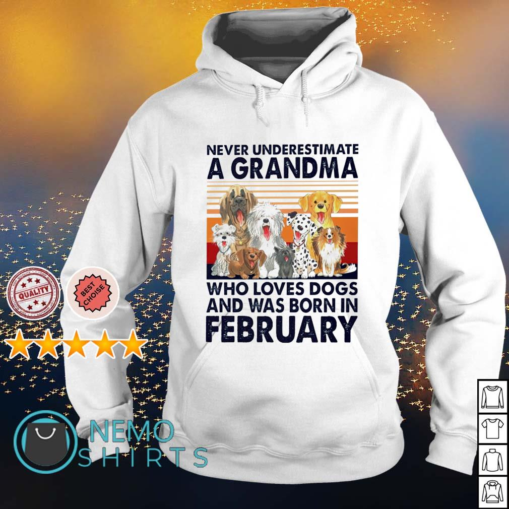 Never underestimate a grandma loves dogs and was born in February s hoodie