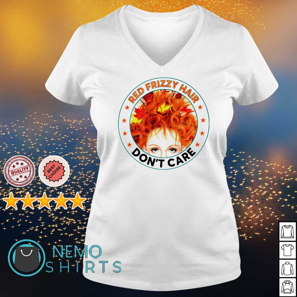 Red frizzy hair don't care s v-neck-t-shirt