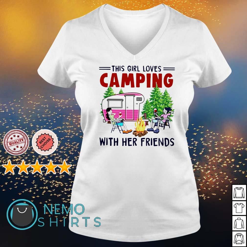 This girl loves camping with her friends s v-neck-t-shirt