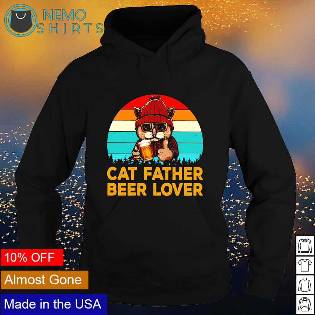 Cat father beer lover vintage s hoodie