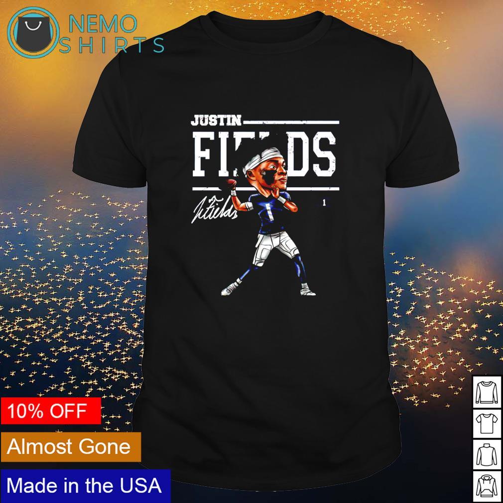 Chicago Football Justin Fields Cartoons signature shirt