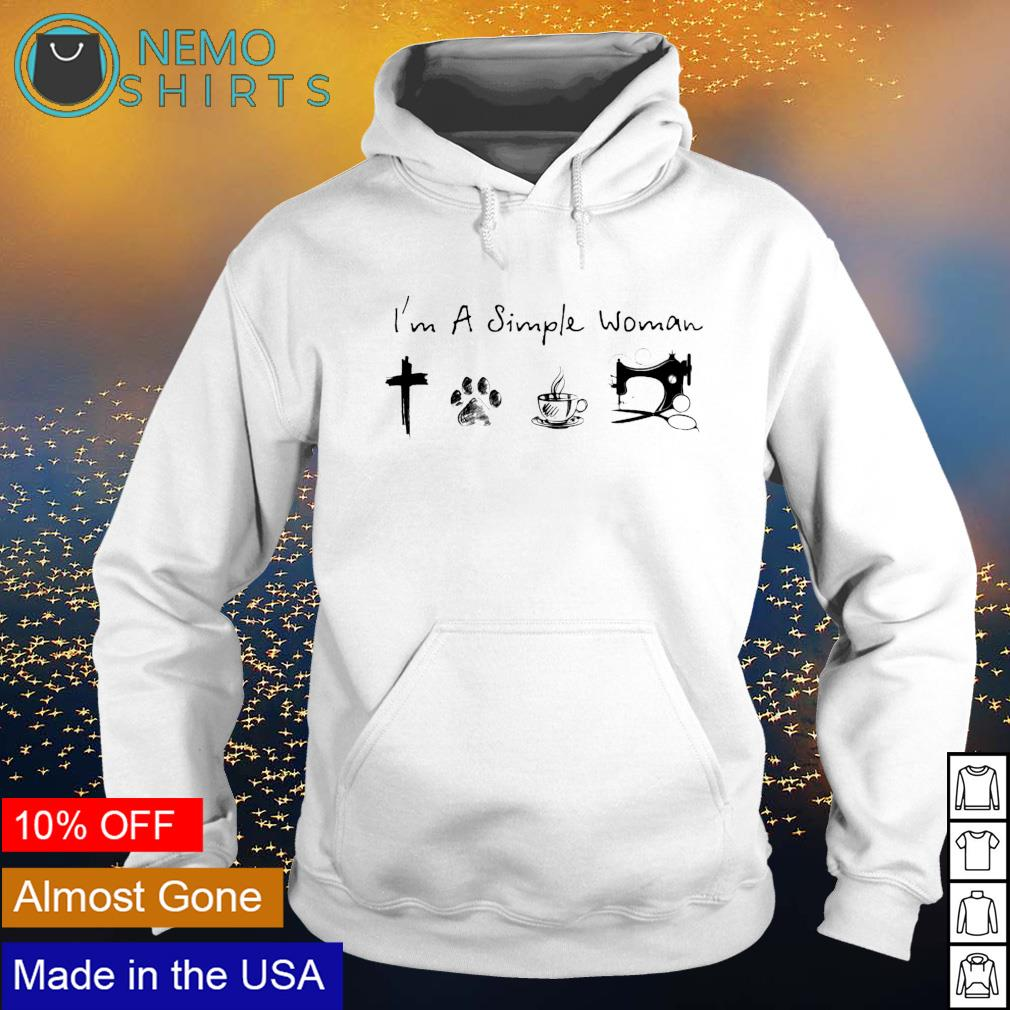 I'm a simple woman I love Jesus dog coffee and sewing s hoodie