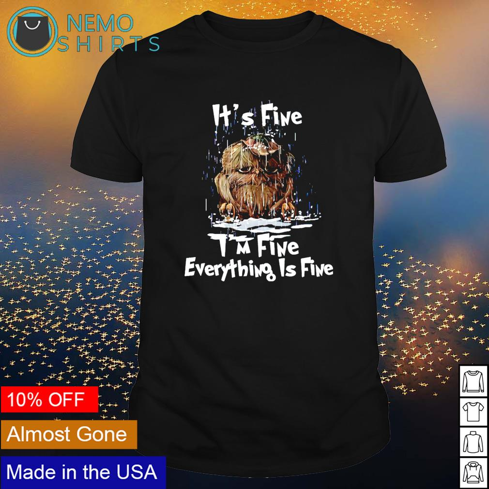 Owl rain it's fine I'm fine everything is fine shirt