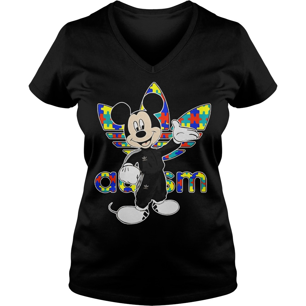 Mickey adidas autism V-neck t-shirt
