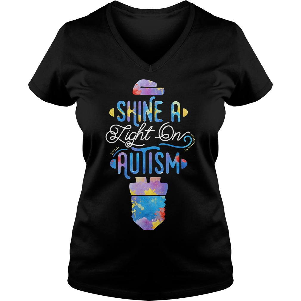 Shine a light on autism V-neck t-shirt