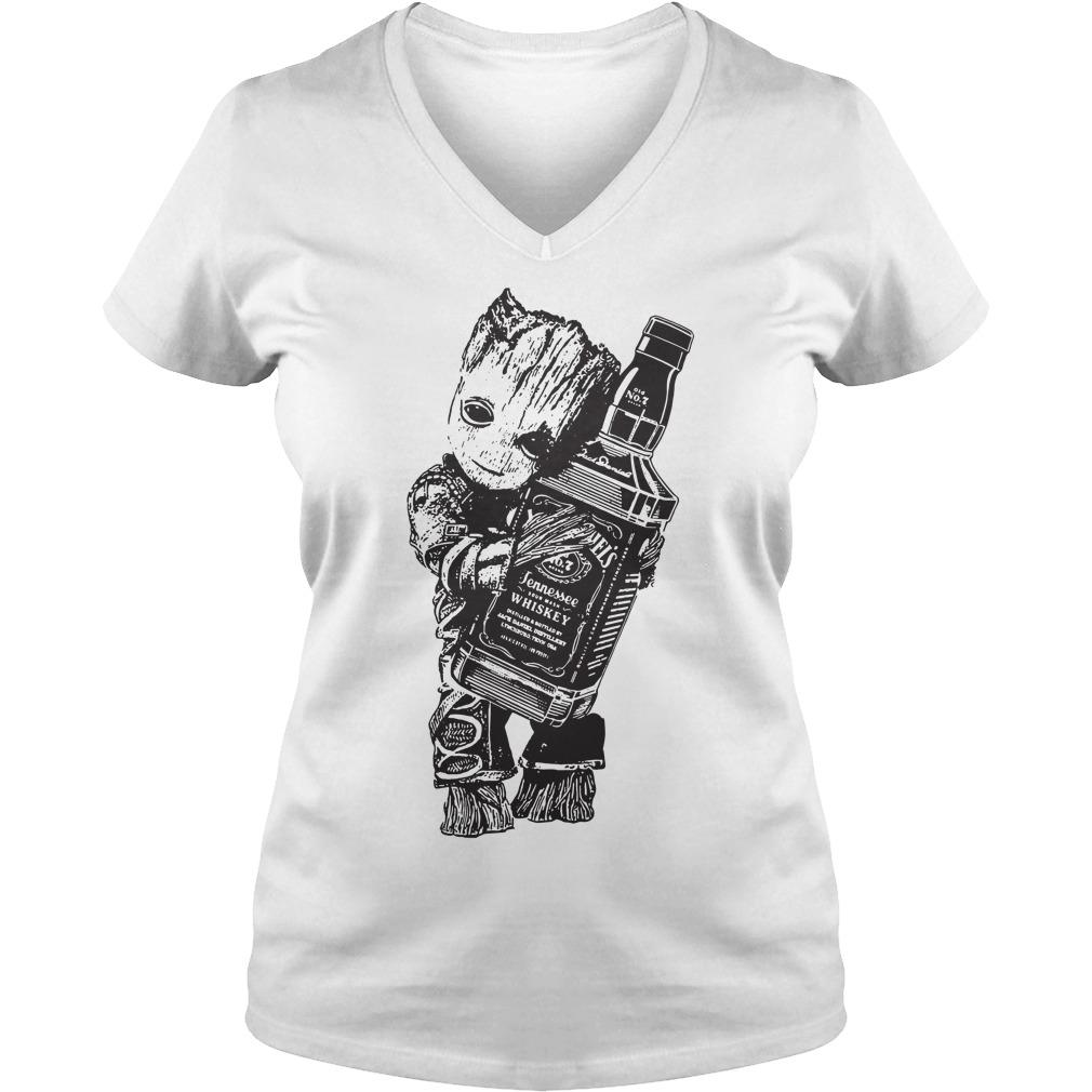 Baby Groot hug Jack Daniel's Tennessee Whiskey V-neck t-shirt