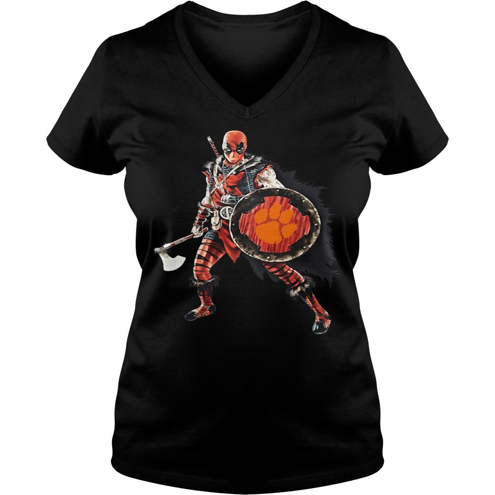 Deadpool Viking Clemson Tigers V-neck t-shirt