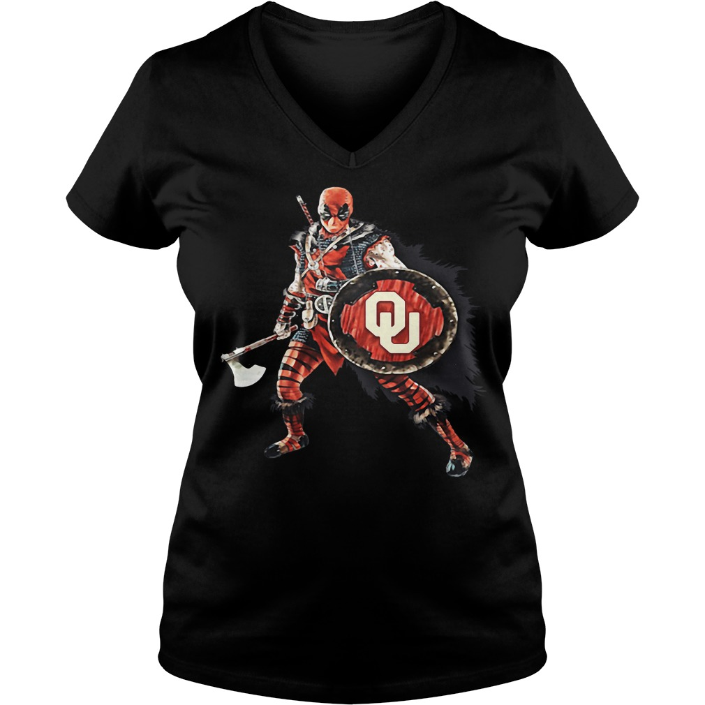 Deadpool Viking Oklahoma Sooners V-neck T-shirt