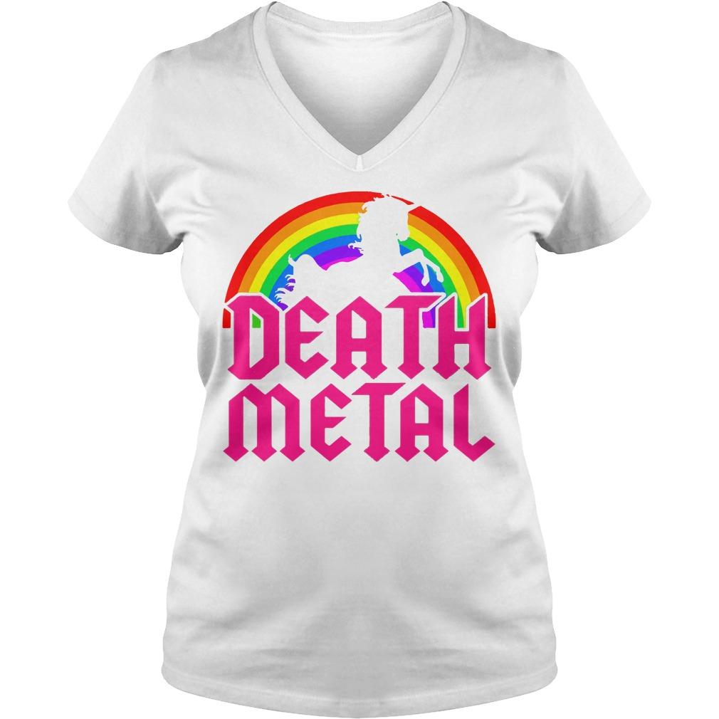 Death Metal Unicorn Rainbow V-neck T-shirt