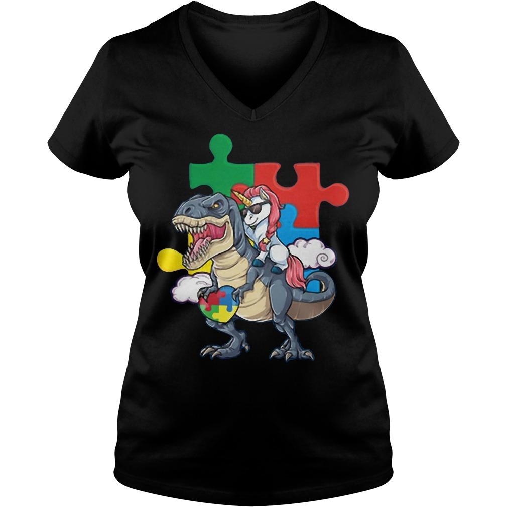 Dinosaur and Unicorn autism V-neck t-shirt