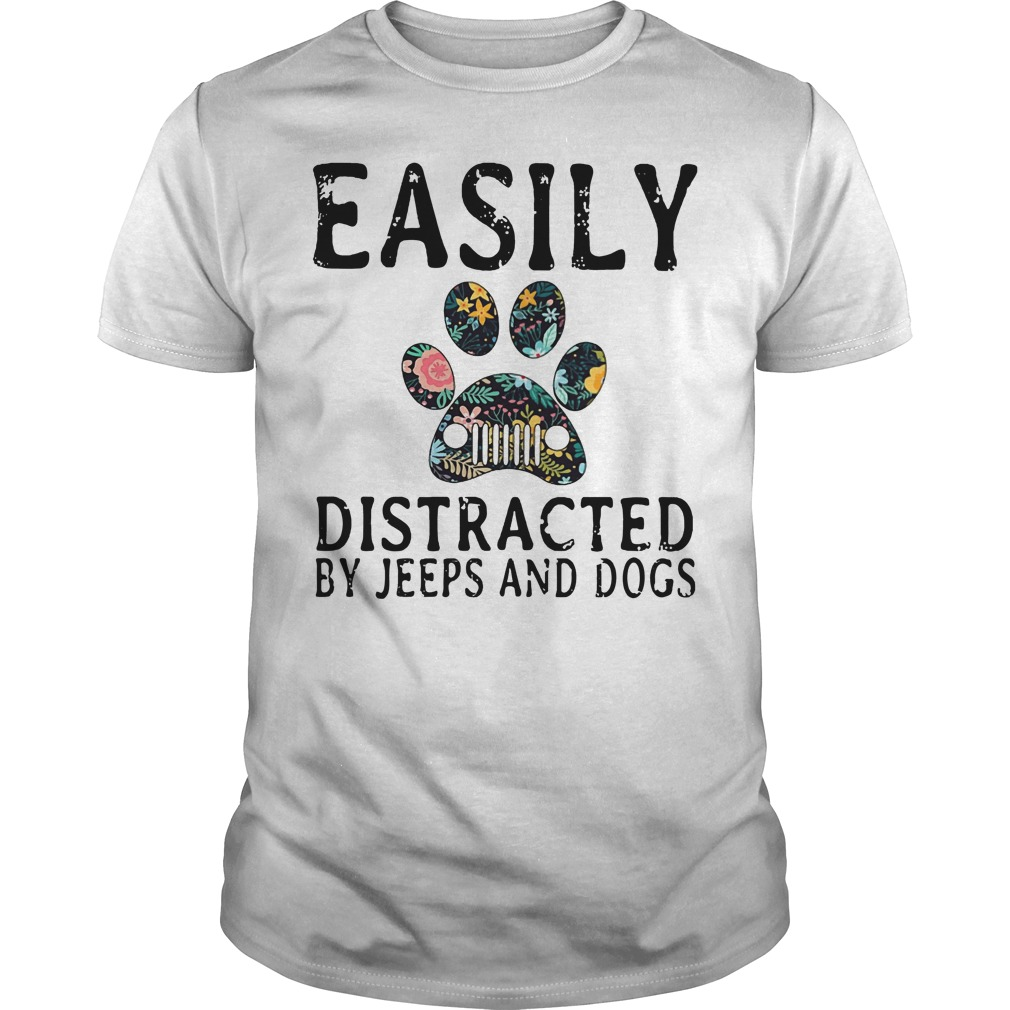 Easily Distracted by Jeeps and dogs Guys shirt