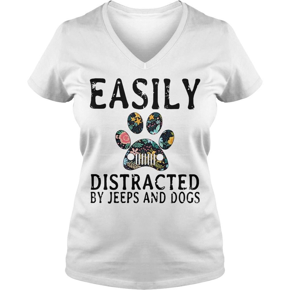 Easily Distracted by Jeeps and dogs V-neck t-shirt