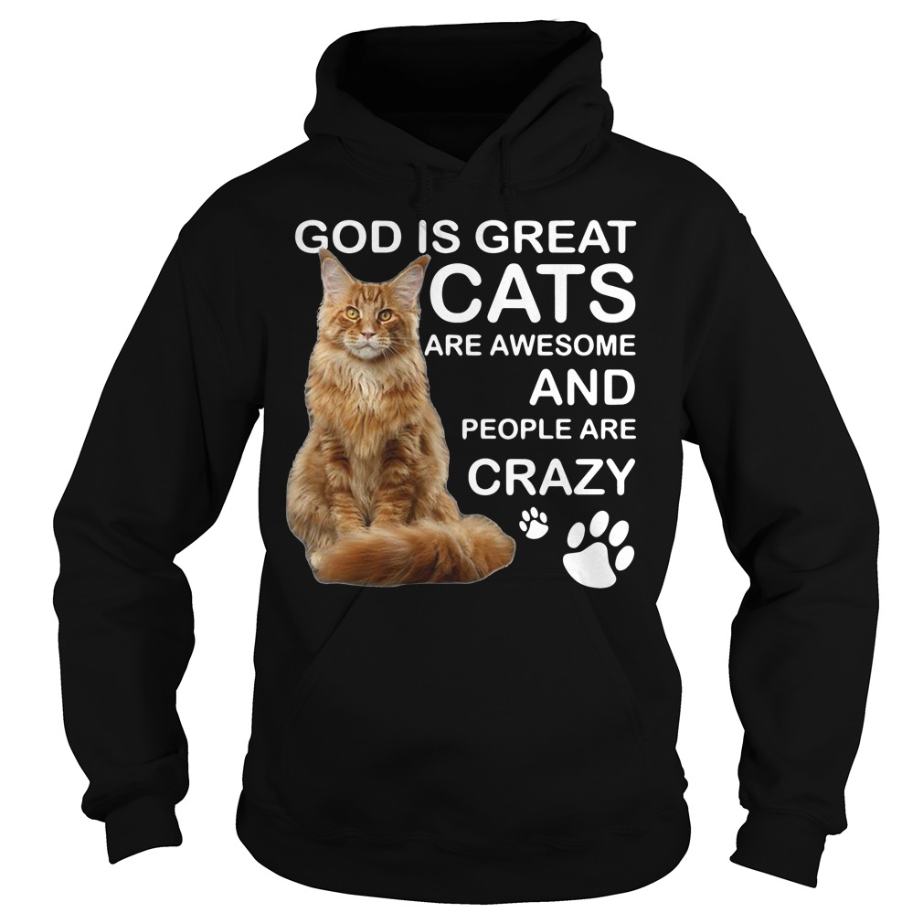 God is great cats are awesome and people are crazy Hoodie