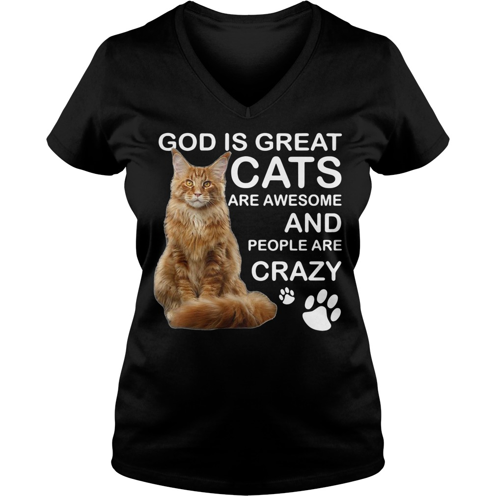 God is great cats are awesome and people are crazy V-neck T-shirt