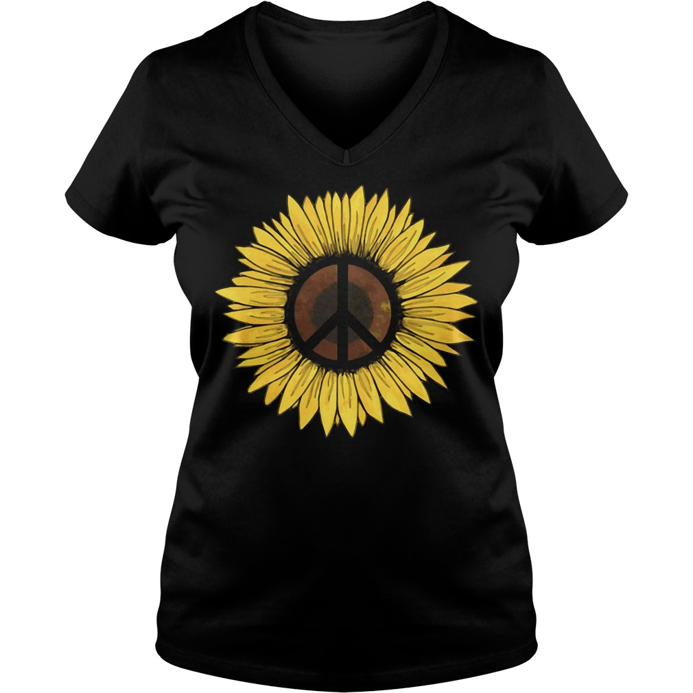 Hippie Sunflower Peace V-neck t-shirt