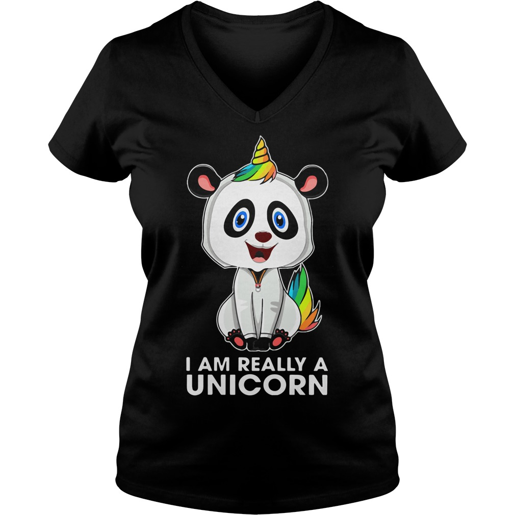 I am really a panda unicorn V-neck t-shirt