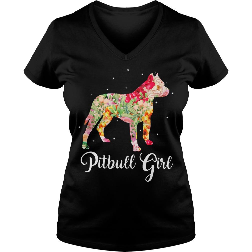 Pitbull girl V-neck t-shirt
