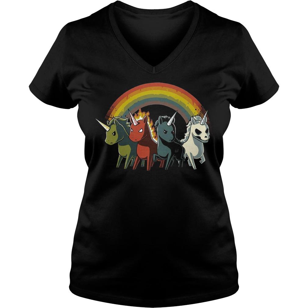 Rainbow Unicorn V-neck t-shirt