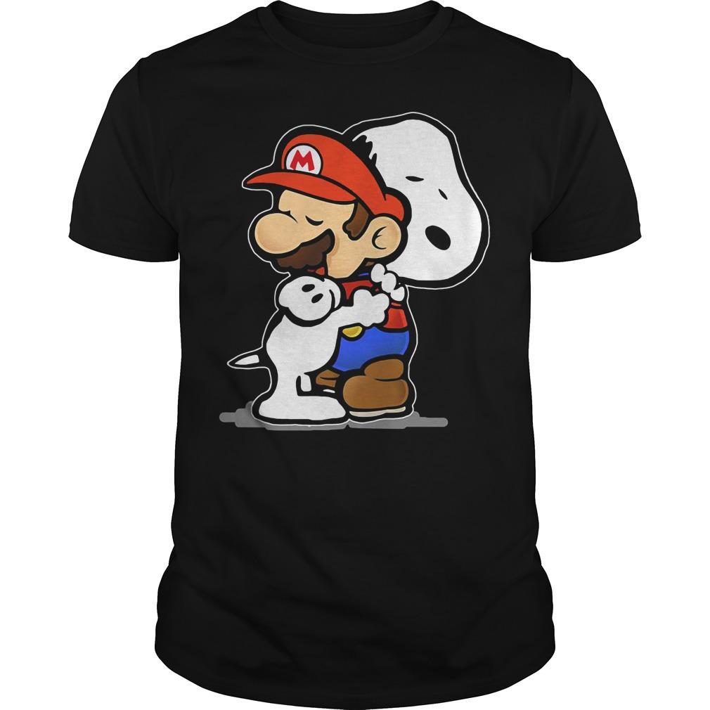 Snoopy and Mario hug shirt