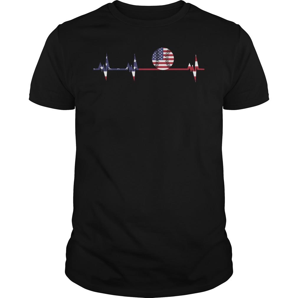 Softball Heartbeat Flag shirt