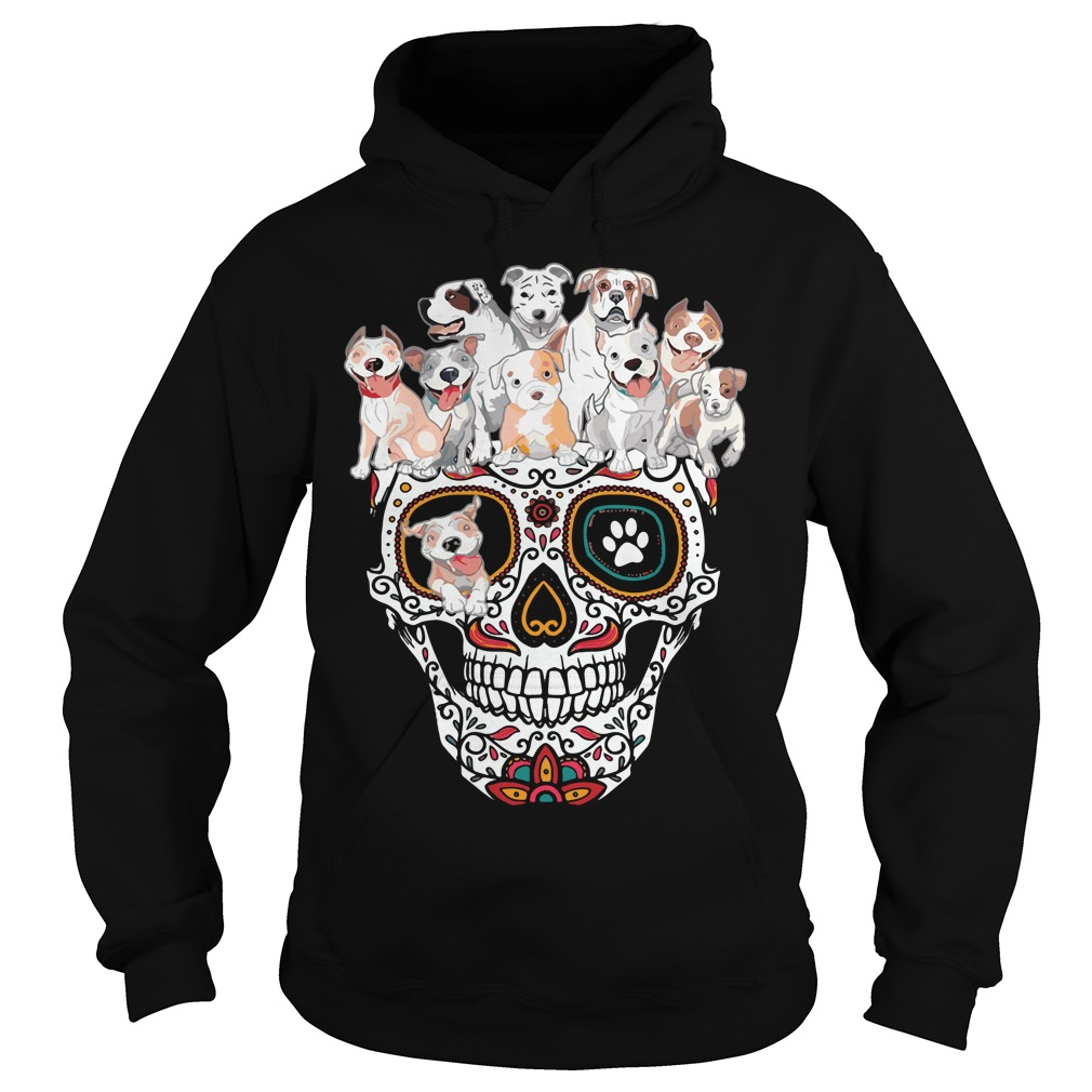 Sugar Skull Pit Bull Dogs Hoodie