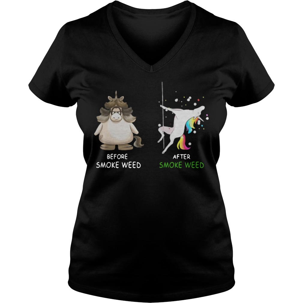 Unicorn Before smoke weed and after smoke weed V-neck t-shirt