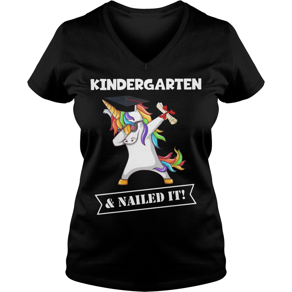 Unicorn Dabbing Graduation Kindergarten and Nailed it V-neck T-shirt