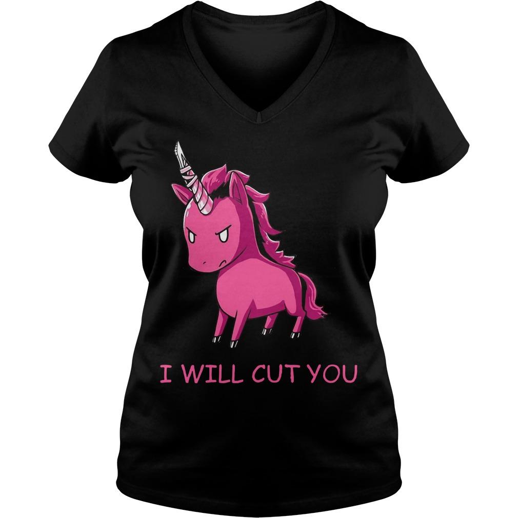Unicorn I will cut you V-neck t-shirt