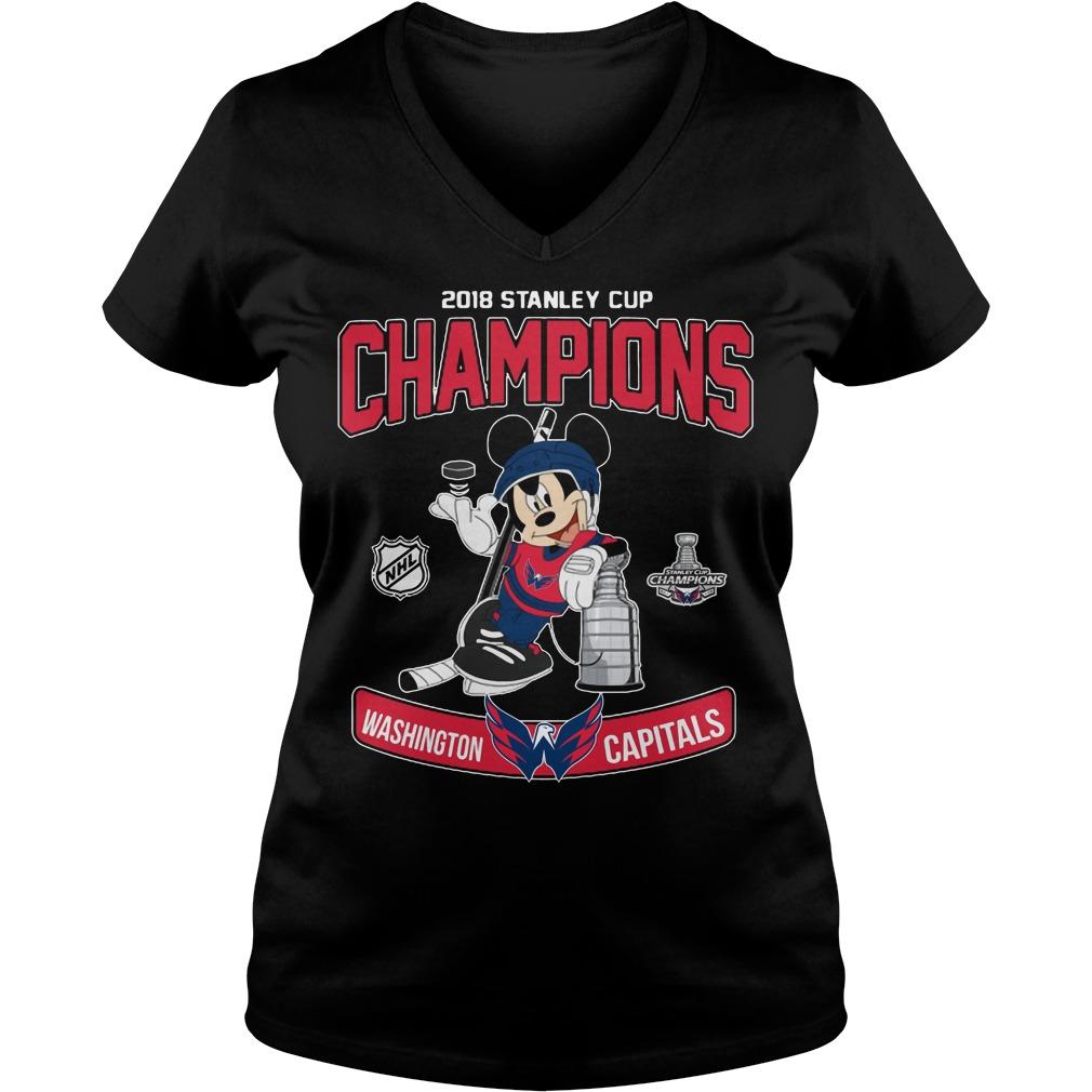 2018 Stanley Cup Champions Mickey Washington Capitals V-neck t-shirt