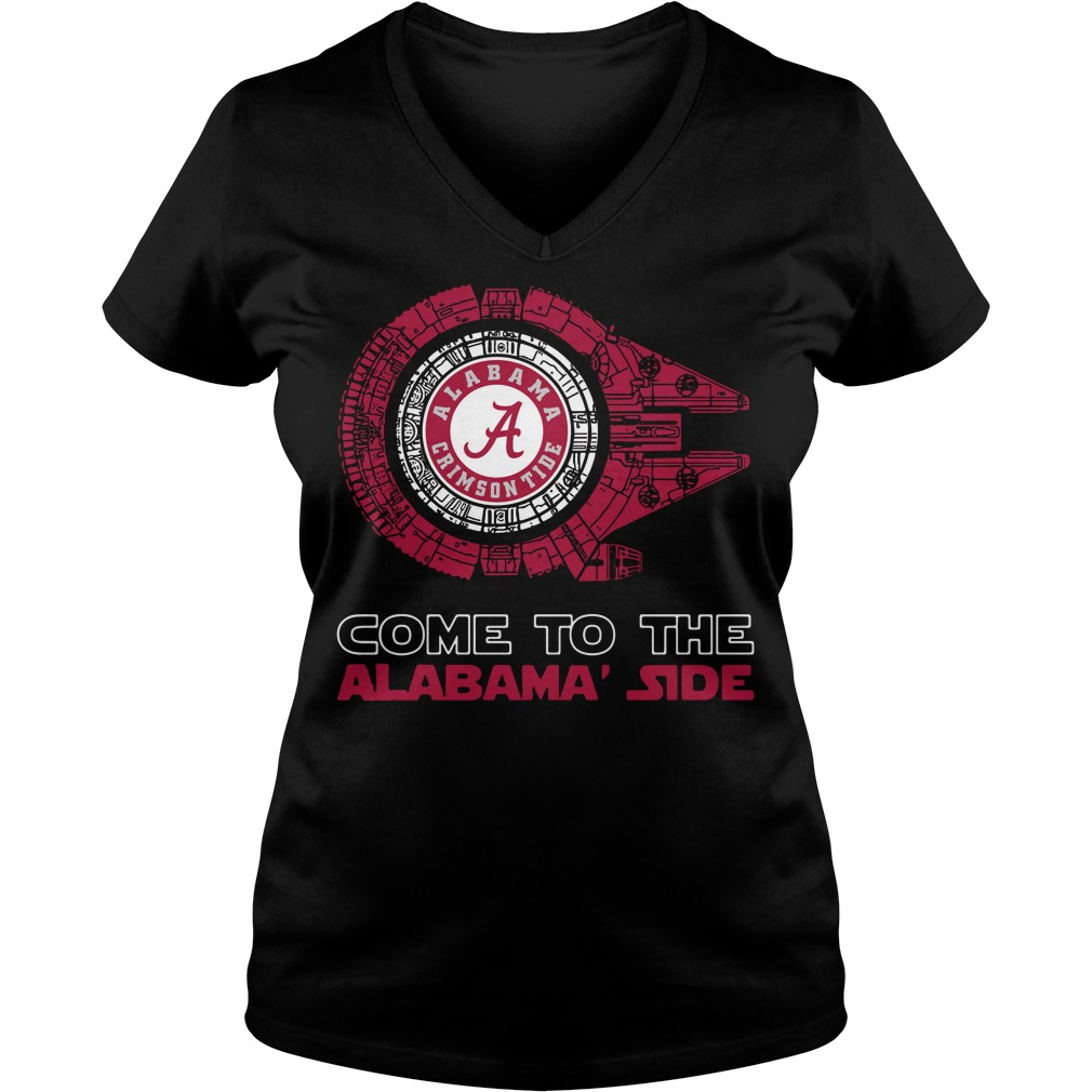 Alabama Crimson Tide Millennium Falcon come to the Alabama' side V-neck t-shirt