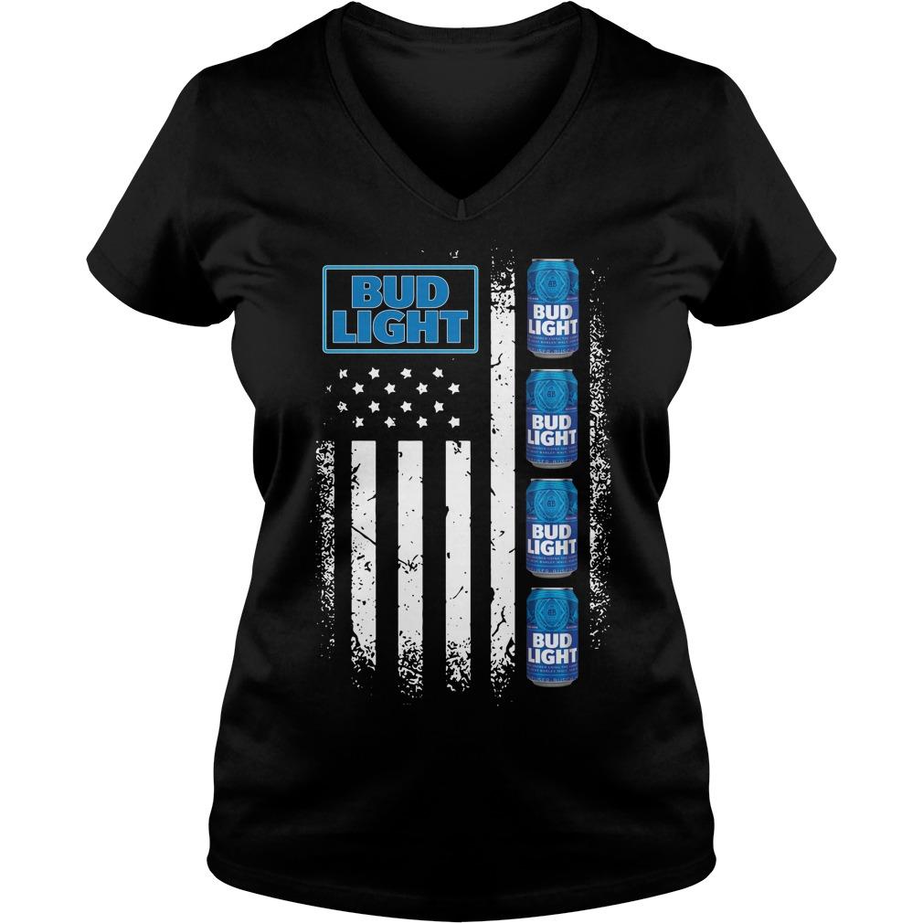 America Flag Bud Light V-neck t-shirt