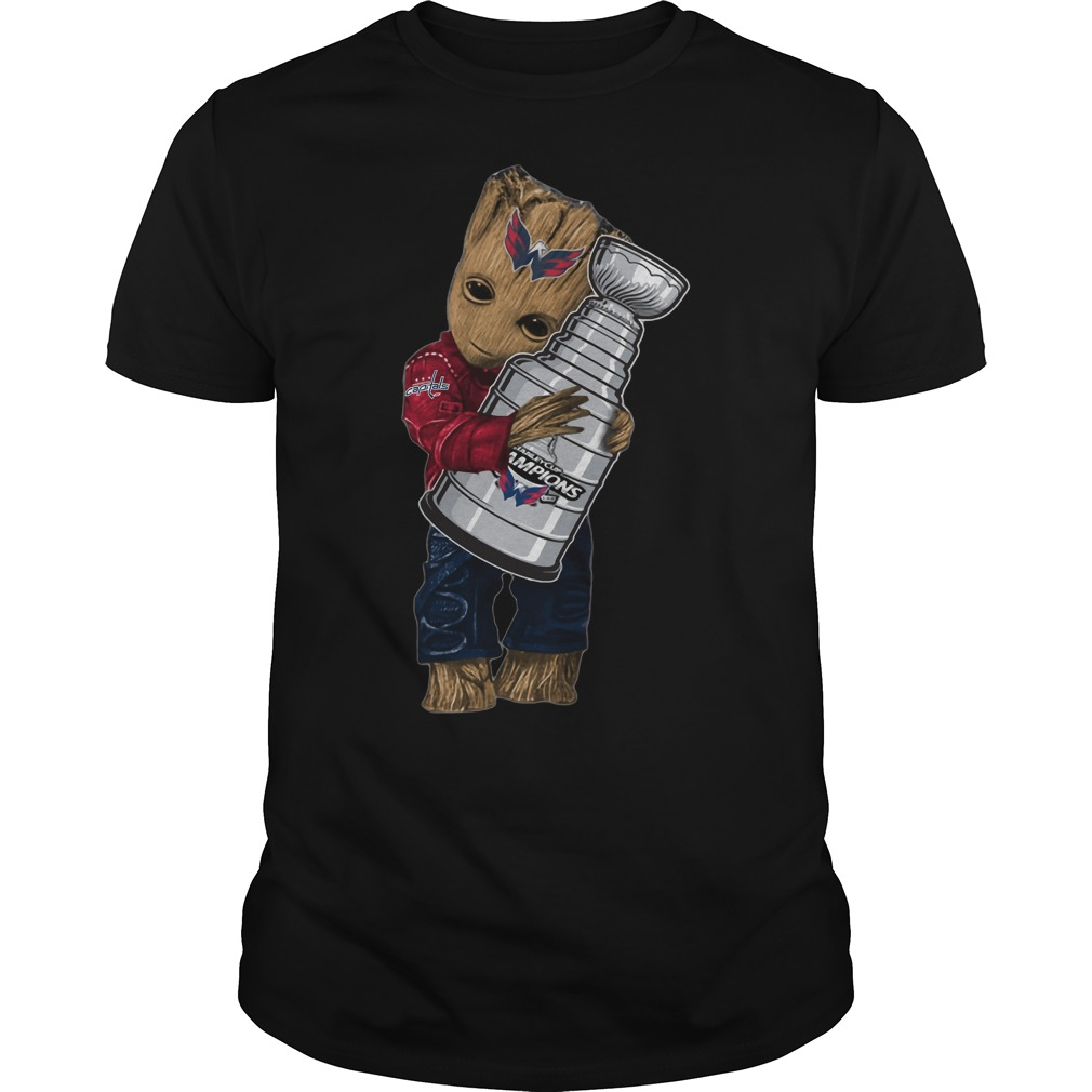 Baby Groot hug NHL Washington Capitals Stanley Cup shirt