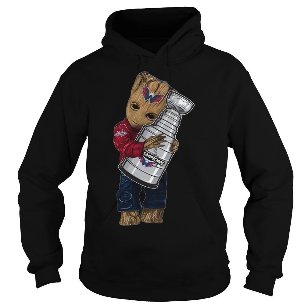 Baby Groot hug NHL Washington Capitals Stanley Cup Hoodie